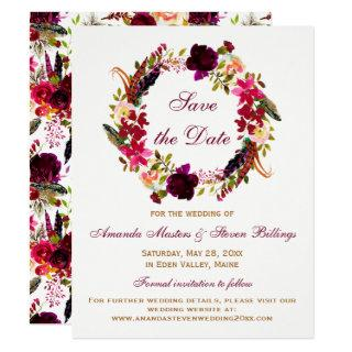 Wedding Save the Date - Burgundy Floral, Feathers Invitations