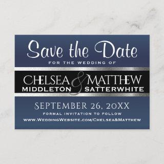 Wedding Save the Date Dark Blue and Silver