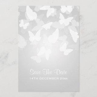 Wedding Save The Date Elusive Butterflies White