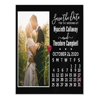 Wedding Save the Date October 2020 Calendar Photo Magnetic Invitation