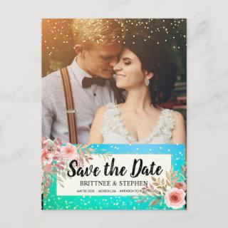 Wedding Save The Date Photo Floral Teal Gold Dots Announcement Postcard