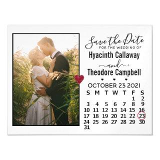 Wedding Save the Date Photo October 2021 Calendar Magnetic Invitations