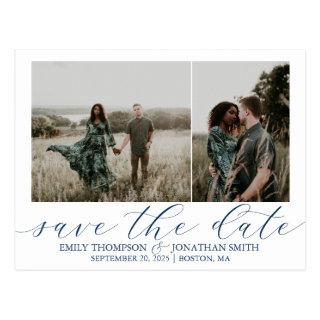 Wedding Save The Date Postcards Two Photos Navy