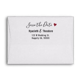 Wedding Save the Date Return Address Script Heart Envelope