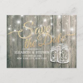 Wedding Save The Date Rustic Wood Mason Jar Lights Announcement Postcard