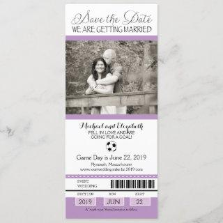 Wedding Save the Date Soccer Ticket