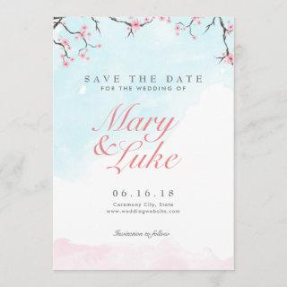 Wedding Save the Date | Watercolor Cherry Blossoms