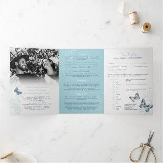 Wedding shades of blue butterflies all-in-one Tri-Fold
