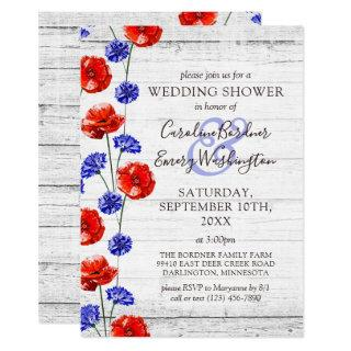 Wedding Shower Rustic Wood & Red Poppy Country Invitations