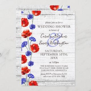 Wedding Shower Rustic Wood & Red Poppy Country