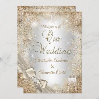 Wedding Silver Beige Cream Pearl Bow Snowflake Invitations