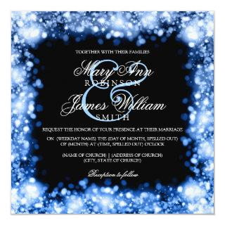 Wedding Sparkling Lights Sapphire Blue Invitation