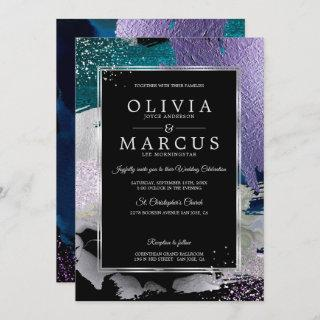 Wedding | Stunning Bold Teal Lavender Abstract Invitations