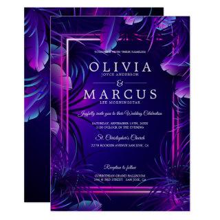 Wedding | Stunning Neon Tropical Foliage Invitation