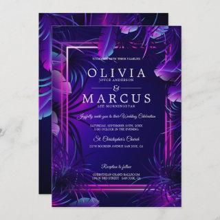 Wedding | Stunning Neon Tropical Foliage Invitations