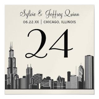 Wedding Table Number   Chicago City Skyline