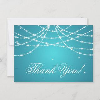 Wedding Thank You Note Sparkling String Turquoise