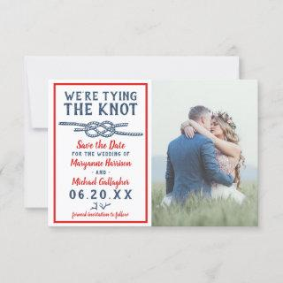Wedding Tying the Knot Beach Photo Navy Blue Red Save The Date