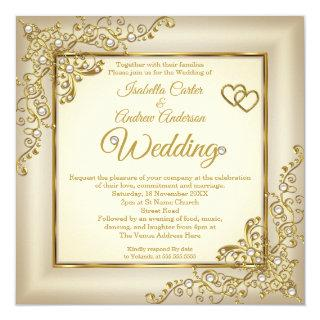 Wedding Vintage Cream Beige Gold Heart Pearl Photo Invitations