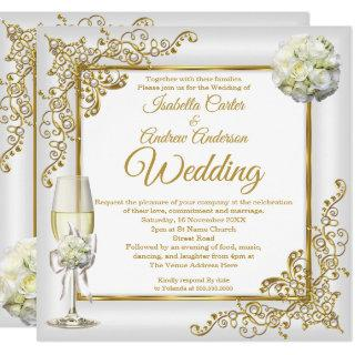 Wedding Vintage White Champagne Gold Pearl Photo Invitations