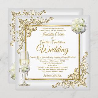 Wedding Vintage White Champagne Gold Pearl Photo Invitation