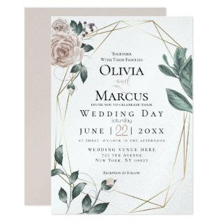 WEDDING | Watercolor Blush Dusty Rose Gold Invitations