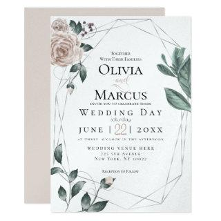 WEDDING | Watercolor Blush Dusty Rose Silver Invitations