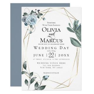WEDDING | Watercolor Dusty Blue Floral Invitations