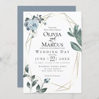 WEDDING | Watercolor Dusty Blue Floral Invitation