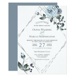 Wedding Watercolor Dusty Blue Floral Silver Frame Invitations