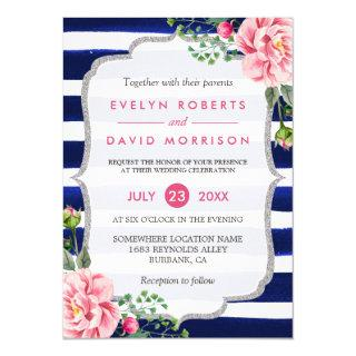 Wedding Watercolor Floral Silver Navy Blue Stripes Invitations