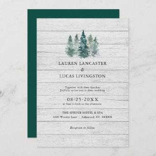 Wedding Watercolor Wood Rustic Pine Trees Green Invitation