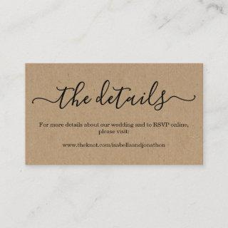 Wedding Website Enclosure Card - Rustic Kraft