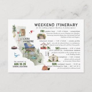 Wedding Weekend in Sonoma/Napa Itinerary Card