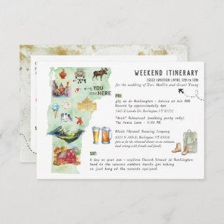 Wedding Weekend in Vermont Itinerary Card