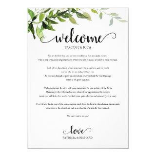 Wedding Weekend Itinerary Elegant Greenery Invitation