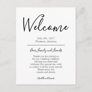Wedding Welcome Itinerary Note Favor Bag Tag Enclosure Card