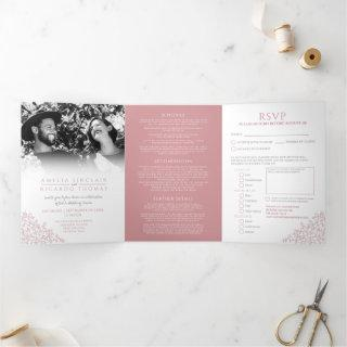 Wedding white dusty pink leaves all-in-one  Tri-Fold invitation