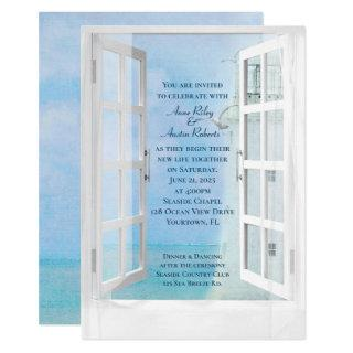 wedding white lighthouse window view with seagulls Invitations