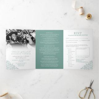 Wedding white muted green leaves all-in-one Tri-Fold invitation