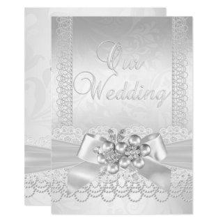 Wedding White Silver Pearl Lace Damask Diamond 2 Invitation