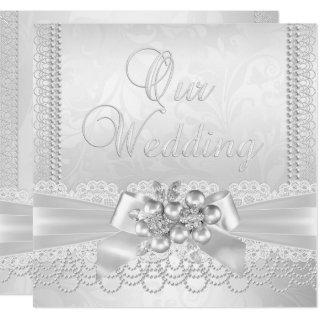 Wedding White Silver Pearl Lace Damask Diamond Invitation