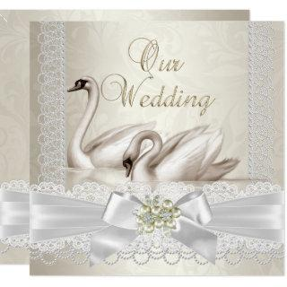 Wedding White Swans Cream Pearl Lace Damask SQ Invitations