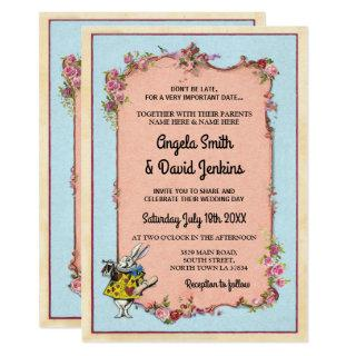 Wedding Wonderland Rabbit Vintage Floral Invite