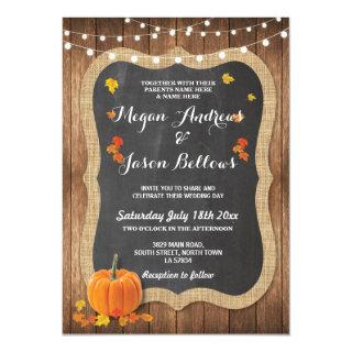 Wedding Wood Rustic Pumpkin Fall Chalk Invitations