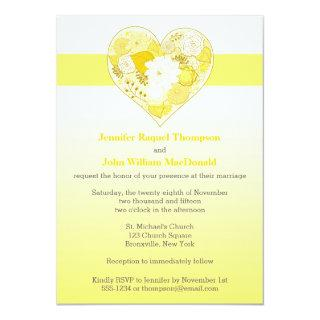 Wedding | Yellow, White | Ombre | Floral | Heart Invitations
