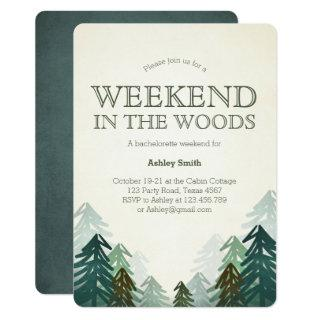 Weekend in the Woods Bachelorette Party Getaway Invitations