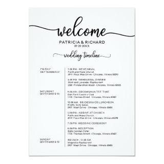 Weekend Wedding Schedule Elegant Calligraphy Invitation