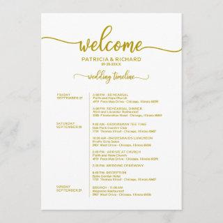 Weekend Wedding Schedule Elegant Gold Calligraphy Invitations