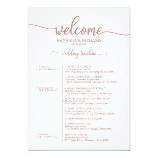 Weekend Wedding Schedule Rose Gold Calligraphy Invitations